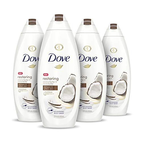 Dove Purely Pampering Body Wash for Dry Skin Coconut Butter and Cocoa Butter Effectively Washes Away Bacteria While Nourishing Your Skin 22 oz, 4 count