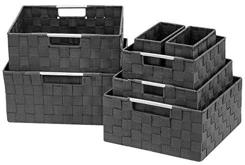 Sorbus Storage Box Woven Basket Bin Container Tote Cube Organizer Set Stackable Storage Basket Woven Strap Shelf Organizer Built-in Carry Handles (7 Piece - Grey)