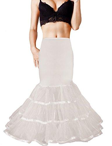 Shimaly Women's Mermaid Petticoat Fishtail Underskirt Trumpet Petticoat for Wedding Dress (S-M,Ivory)
