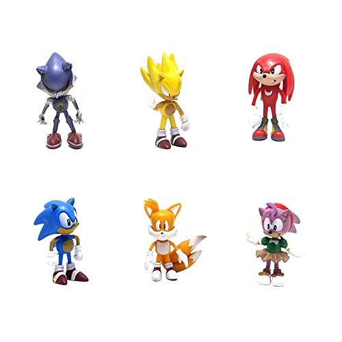smileh Sonic Cake Topper Figuras Sonic The Hedgehog Figuras Decoración Para Tarta Sonic Shadow Tails Mini Figuras Set 6 Piezas