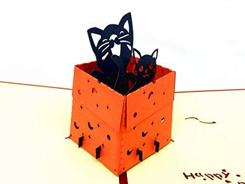 Smiling Art Pop Up 3D Karten, Glückwunschkarten inklusive Umschlag und Schutzhülle, handgearbeitet, handgefertigt, Geschenkkarte für Gutschein, Einladungskarte, Geburtstagkarte (Tier, Katze Rot)