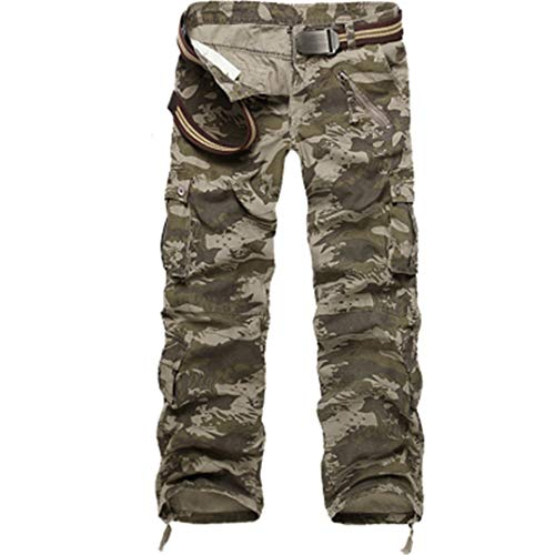 Oinrenstkp Herren Cargo Pants Camouflage Hose Military Streetwear Jogger Pants Straight Water Camouflage 36