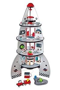 Contient : fusée en bois avec ses accessoires Age minimum : 3 ans Dimensions : 47,8 x 47,8 x 74 cm Valeur éducative : Imagination, créativité, travail de la préhension