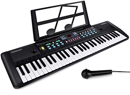 61 Keys Keyboard Piano, Electronic Digital Piano with Built-In Speaker, Microphone, Sheet Stand and Power Supply, Portable Keyboard Gift Teaching Toy for Beginners