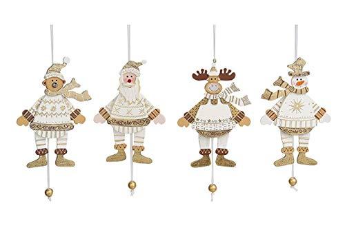 Wurm Set 4 Weihnacht Hampelmann Figuren hell Creme 14 cm Holz verschieden sortierte Lieferung