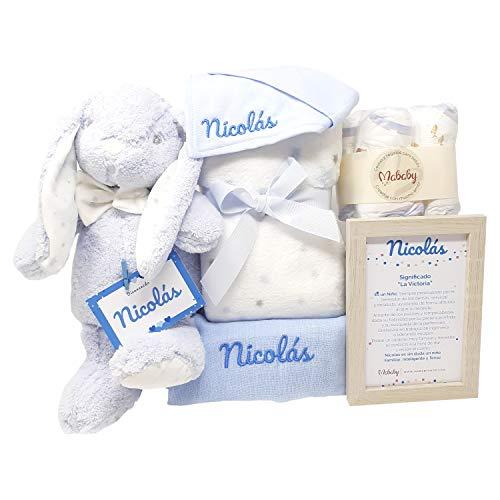 Teddy Bunny de Mababy | Canastilla Bebé | Regalo Bebé Personalizado | Cesta Recién nacido | Regalo Babyshower | Cesta Bebé Personalizada (Azul)
