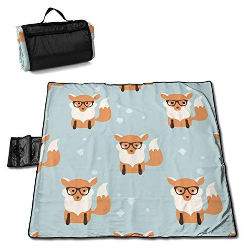 End Nazi Große wasserdichte Outdoor-Picknickdecke Kawaii Fox mit Brille Sanddichte Strandmatten-Tasche für Camping-Wanderungen