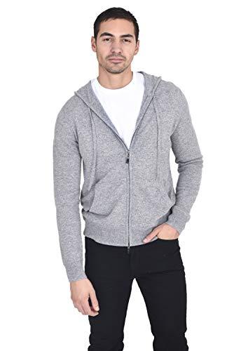 State Cashmere Herren Kapuzenpullover mit Reißverschluss, 100 % reines Kaschmir, lange Ärmel, modisches Sweatshirt mit Taschen - Grau - Medium