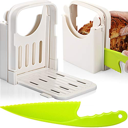 Bread Slicer Adjustable Foldable Bread Toast Slicer Loaf Cutter Slicer Machine with Plastic Kitchen Knife, 5 Different Thickness
