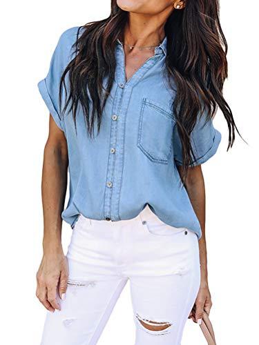 ORANDESIGNE Damen Bluse Jeanshemd Kurzarm Jeansbluse V-Ausschnitt Lose Casual Denim Langarm Shirt Sommer Blau Jean Bluse Oberteile Top E Blau M