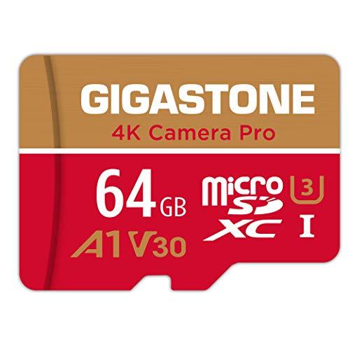 Gigastone Scheda di Memoria Micro SDXC da 64 GB, 4K Telecamera Pro Serie, A1 U3 V30, Velocità Fino a 95/35 MB/s. (R/W) con Adattatore SD. Specialmente per Telefono, Videocamera, Tablet, Gopro, Switch