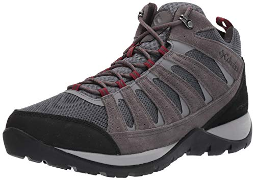 Columbia Men's Redmond V2 MID Waterproof Hiking Shoe, Graphite, red Jasper, 12 Regular US