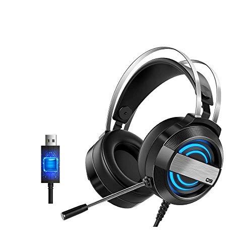 AYDQC Auriculares de Gama de Alta Gama 7.1 Auriculares de Juego estéreo de Canal con 360DEG;Micrófono de reducción de Ruido 7 Colores de respiración Negra fengong