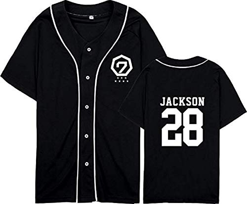 mainlead GOT7 Fly in Seoul Same Style T-Shirt Bambam Mark Jackson JB JR Tee Shirt(M, Black,Jackson)