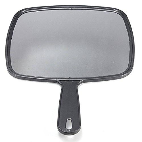 SODIAL Espejo de paleta de mano para Salon Barberos Peluqueria Espejo de paletas Herramienta con mango Negro para Maquillaje Peluqueria