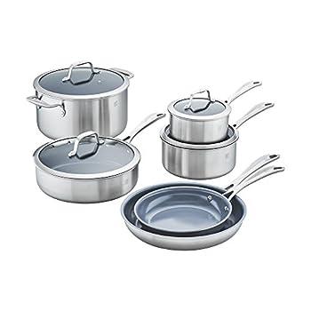 ZWILLING Spirit Ceramic Nonstick 10-pc cookware set Stainless Steel