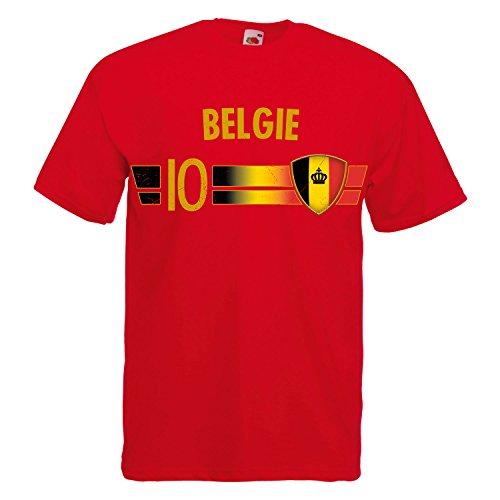 Fußball WM T-Shirt Fan Artikel Nummer 10 - Weltmeisterschaft 2018 - Länder Trikot Jersey Herren Damen Kinder Belgien Belgie Belgique Belgium 3XL