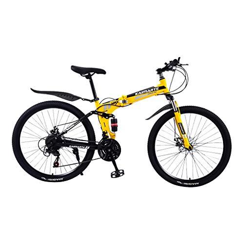Outroad Folding Mountain Bike, 24 Inch Lightweight Mini Mountain Bike Full Suspension Folding Bike Non-Slip Bike for Adults Sport Road Bikes (Yellow)