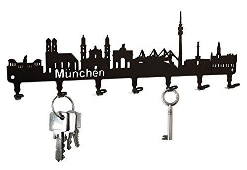 steelprint.de Schlüsselbrett/Hakenleiste * München Skyline * - Schlüsselboard Bayern, Schlüsselleiste, Metall - 7 Haken - schwarz