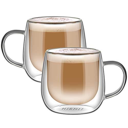 hirmit Taza de café de Cristal Pared Doble Vaso Taza de Espresso Taza de Té Paquete de 2 (300 ml)