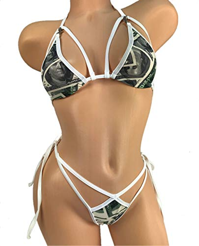 Bikini G-String Thong Tie Side Triangle Top With...