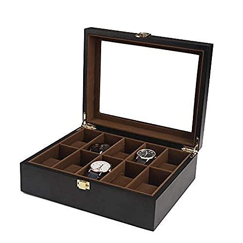 T.T-Q Caja de Reloj de Madera de 10 dígitos Cajas para Relojes Caja de Almacenamiento de Techo corredizo de Vidrio Caja de exhibición Caja de colección 26.5 * 21 * 9cm