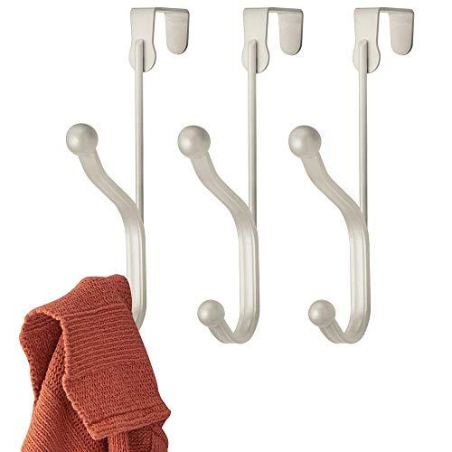 mDesign - Deurhaak in 3-delige set - kledinghaak - voor mantels, jassen, badjassen of handdoeken - individuele kledinghaak voor gang- en badkamerdeuren - metaal - mat satijn
