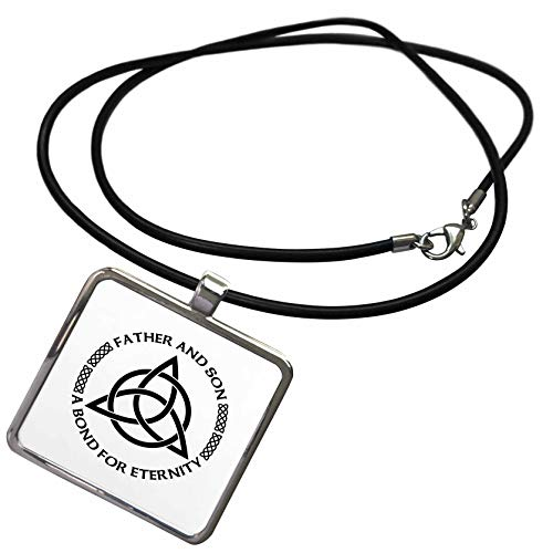 3dRose Carsten Reisinger - Illustrations - Celtic Fatherhood Knot Father and Son A Bond for Eternity - Necklace with Rectangle Pendant (ncl_268561_1)