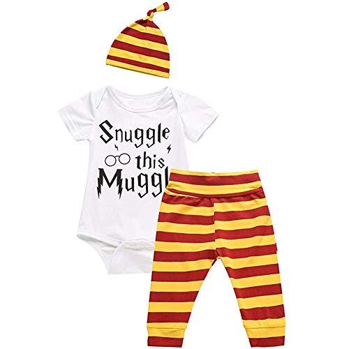 Juflam Snuggle This Muggle Baby Boys Girls Romper Pants Hat Outfit Set...