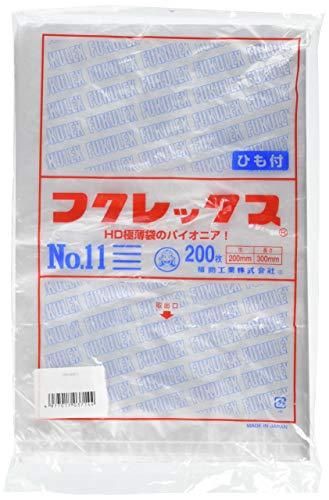 福助工業 福助 フクレックス ポリ袋 規格袋 ひも付き HDPE・半透明 0.008mm厚 11号 200mm×300mm×6000枚:200枚×30袋 福助工業