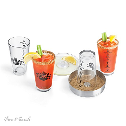 Final Touch Bloody Mary 6 stuks set bevat 4 x Bloody Mary cocktailglazen 450ml cocktail Rimmer Tray and Lid - GG5305