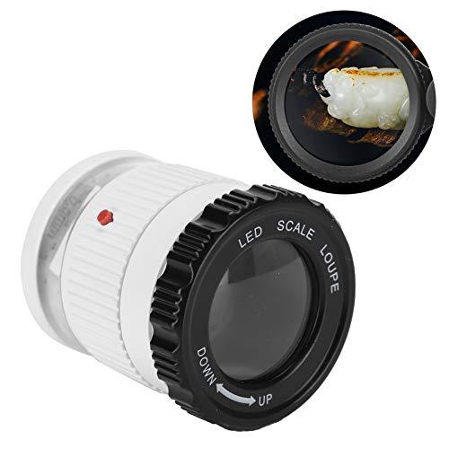 30X Optics Lupenlupe mit Waage, weiße hochauflösende Lupen mit LED Licht und UV Lampe, tragbare Schmucklupe mit PU Aufbewahrungsbox