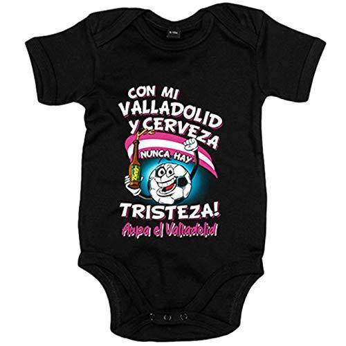 Body bebé frase con mi Valladolid y cerveza nunca hay tristeza fútbol - Negro, 6-12 meses