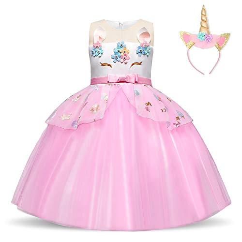 NNJXD Vestido de Unicornio para niñas Fiesta de Apliques de Flores Cosplay Disfraz de Halloween + Gorros Tamaño (130) 5-6 años Rosa