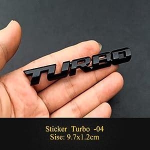 BYTT 1PCS Nouvel Nouveau Cartage Voiture Turbo Boost Boost BOOSTANT SOIGNOIRE MÉTAL 3D Chrome Zinc Alliage 3D Emblem Badge Autocollant Autocollant Auto Accessoire (Color Name : Turbo 04)