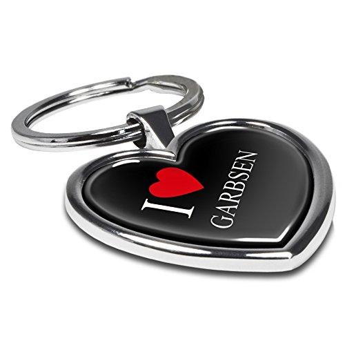 printplanet Schlüsselanhänger mit Stadtnamen Garbsen - Motiv I Love - Herz-Schlüsselanhänger, Stadtschlüsselanhänger, personalisierter Anhänger, Herz-Anhänger, Chrom