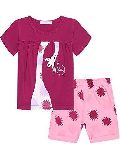 Bricnat Bricnat Mädchen Schlafanzug Nachtwäsche Baumwolle Kinder Frühling Sommer Bekleidung Pyjama Set Kurze Ärmel Pyjama Zweiteiliger Schlafanzug Shorty,Violett,2-3 Jahre (100)