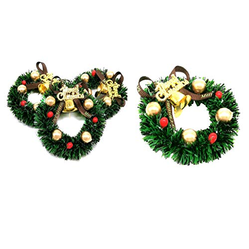 yotijar 4pcs 1:12 Dollhouse Christmas Wreath Window Hanging Garland Home Xmas Decor