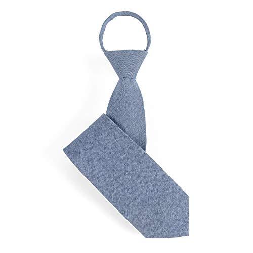 [エムエイチエー] M.H.A.style デニムカラー ワンタッチネクタイ 大人用 メンズ 結婚式 シャンブレー 30025 A.ブルー