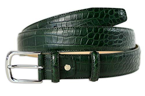 Pasquale Cutarelli Italienischer Ledergürtel mit Krokodilmuster Grün 110 cm