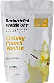 BariatricPal Protein ONE Complete Meal Replacement with Multivitamin, Calcium & Iron - Creamy French Vanilla (21 Serving R...
