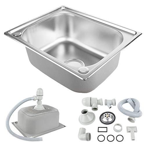 Lavello Cucina 1 Vasca con Raccordi di Scarico, Lavello da Cucina in Acciaio Inossidabile con Scolapiatti, 50 * 40 * 20 cm