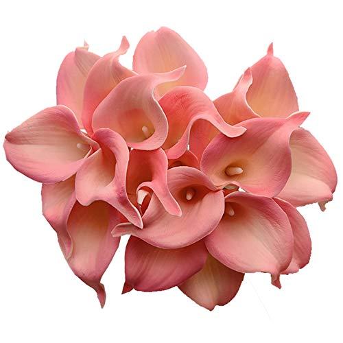 Aisamco 20 Pezzi Artificiali Calla Lily Latex Real Touch Bouquet di Fiori Artificiali Fiore di Seta per la Cerimonia Nuziale Decorazione Domestica