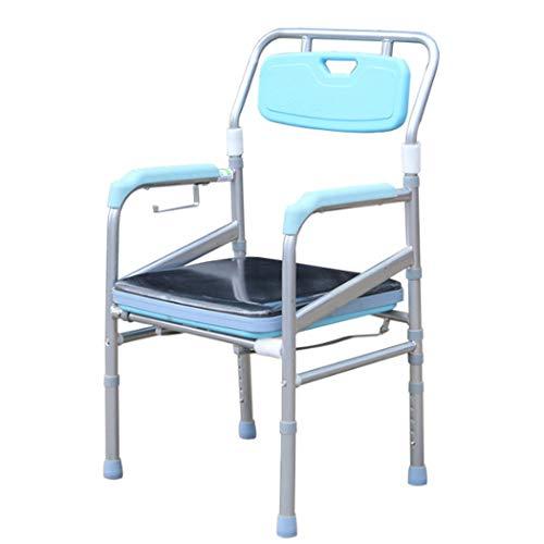 Plegable Cómoda de la cabecera, Sanitarios portátiles para Edad, Silla con Orinal para WC con Altura Ajustable de 5 Niveles para la Tercera Edad