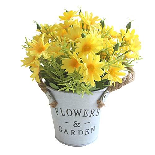 HLTER Maceta artificial de margarita, ramo de margaritas, bonsái, flores artificiales en maceta de metal, bonsái con jarrón para decoración de mesitas de ventana