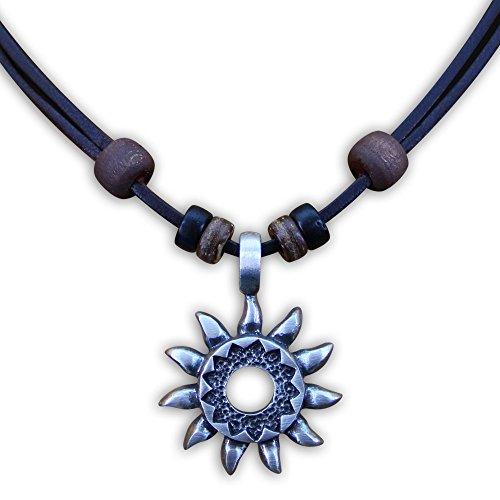 HANA LIMA ® Surferkette Tribalkette Halskette Lederkette Herren Damen Metallanhänger