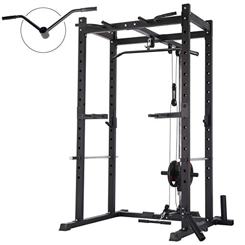 Mikolo Olympic Power Cage, 1000 lbs Commercial Weight Cage with LAT Pull-Down Pulley System, J-Hooks, 360 Degree Landmine, Dip Bars, Barbell Holder, and Other Attachments