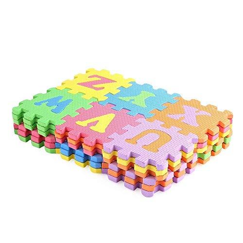 WedDecor Verriegelung Spielmatte Boden Fliesen, Weich Schaum Puzzlespiel, Boden Schutz, Lernen Oberfläche für Kinder, Multicolor, 36-TLG. - Multi, Large