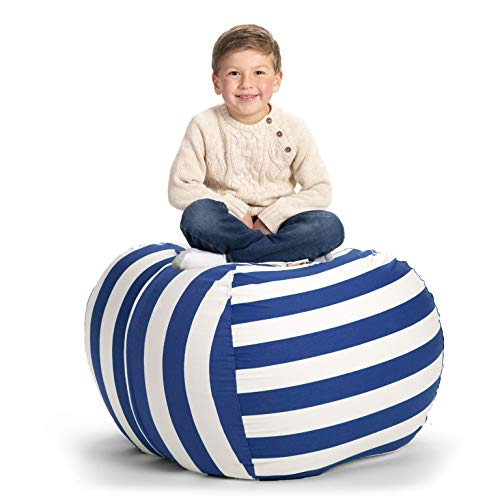 Creative QT Stuffed Animal Storage Bean Bag Chair - Extra Large Stuff 'n Sit Organization for Kids Toy Storage - Available in a Variety of Sizes and Colors (38', Blue/White Stripe)