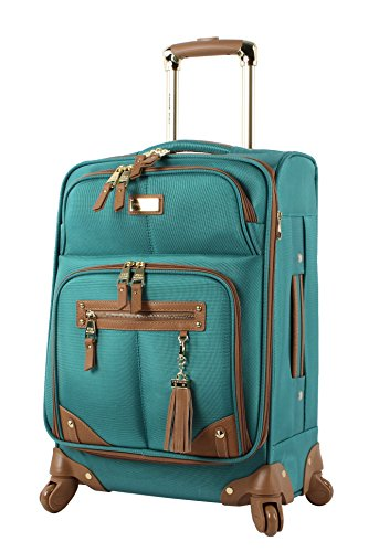 Steve Madden Designer Luggage Collection - Lightweight 24 Inch Expandable Softside Suitcase - Mid-size Rolling 4-Spinner Wheels Checked Bag (Harlo Teal Blue)